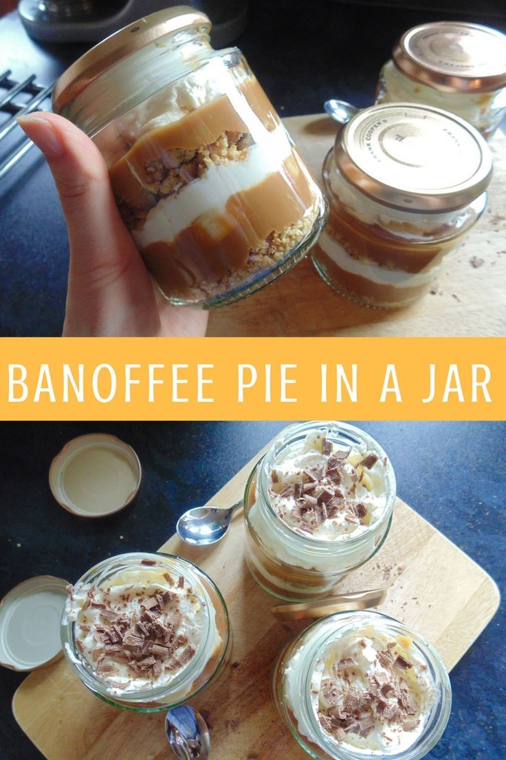 Buttery biscuits, caramel, bananas and vanilla cream all layered in a handy jar!