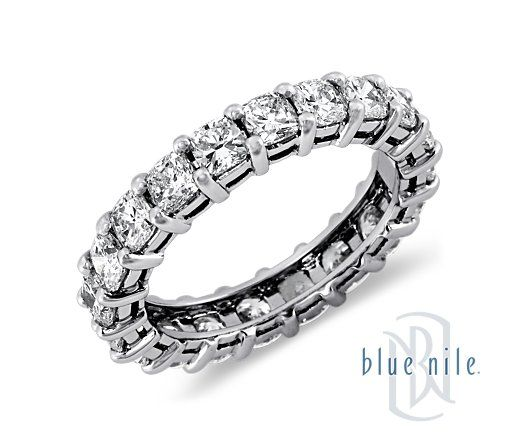 Cushion Cut Diamond Eternity Ring in Platinum. #bluenile