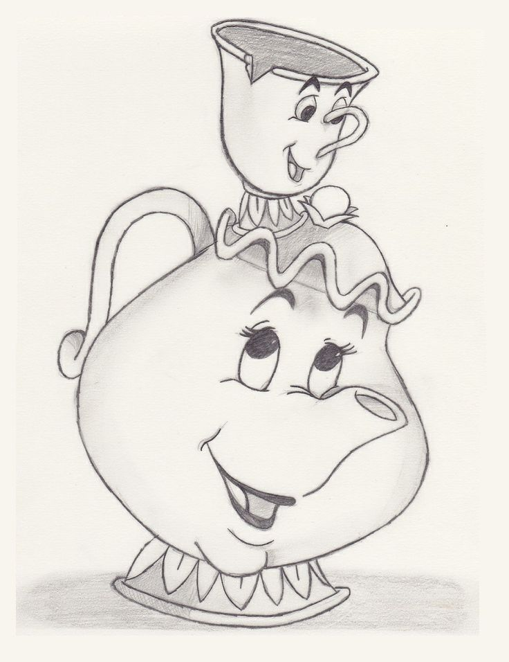 Mrs. Potts & Chip (Beauty & the Beast) - Sketch