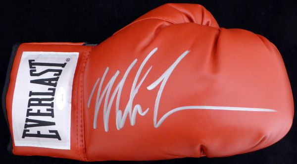 Mike Tyson Autographed Red Everlast Boxing Glove RH Signed In Silver TriStar