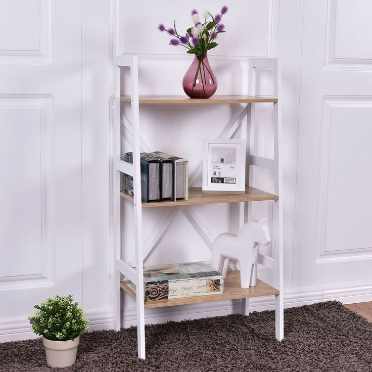 Costway Wall Stand 3 Tier Bookshelf Bookcase Ladder Storage Shelves Book Rack