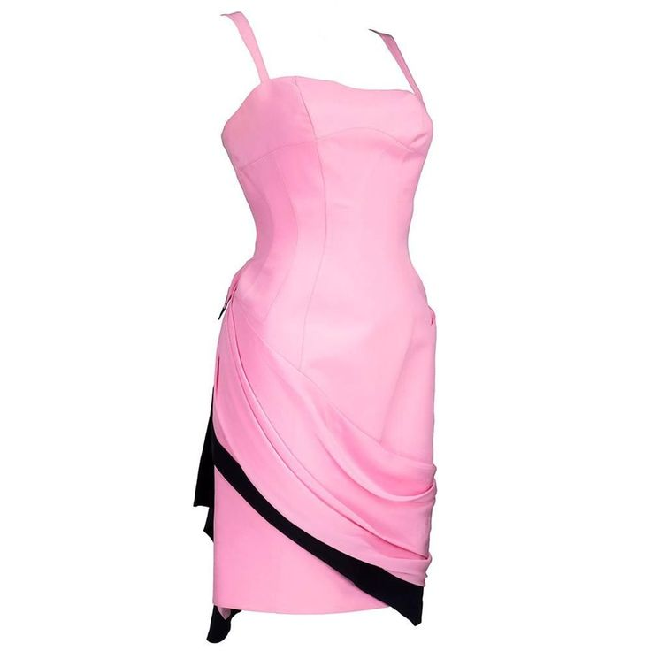 90s Thierry Mugler Bubblegum Pink Silk Mini with Chiffon Swag | From a collection of rare vintage evening dresses and gowns at https://www.1stdibs.com/fashion/clothing/evening-dresses/