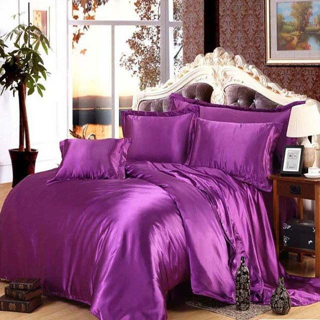 pure color Silk Satin bedding sets Luxury RUSSIA/USA SIZE Gold Red silver Chinese duvet cover for kids purple black pink sheet