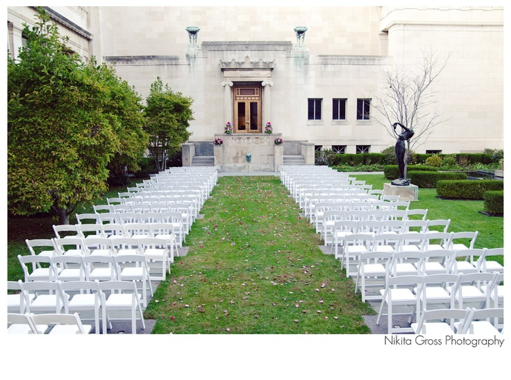 Cincinnati Art Museum Patio Set Up For Outdoor Ceremony