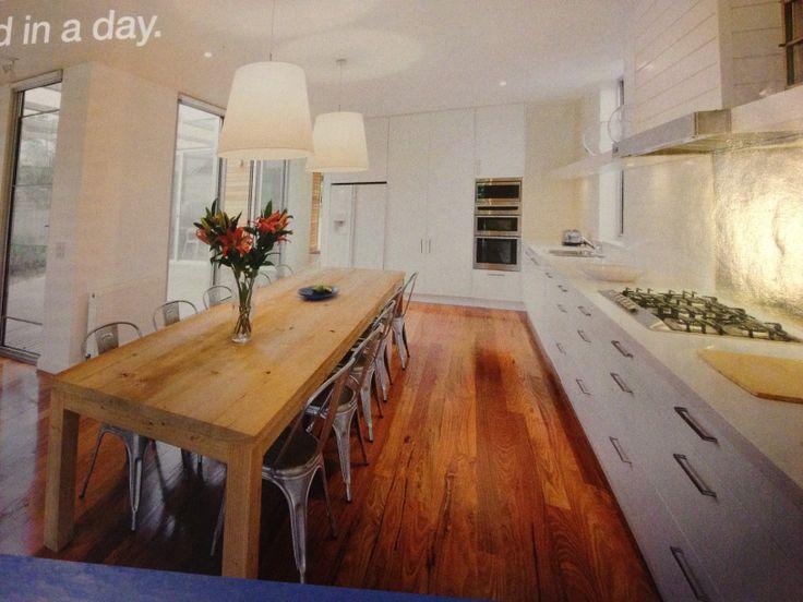 White kitchen, floorboards