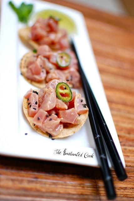 Ahi Tuna Ceviche - 5 mins, so easy (ahi, soy sauce, rice wine vinegar, sesame oil, fresh lime juice, serrano pepper and fresh mint)