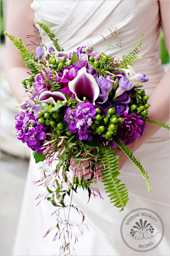 beautiful assortment of purple and green flowers
