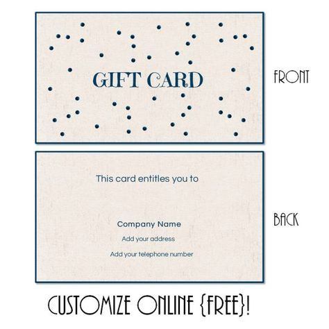 Free printable gift card templates that can be customized online. Instant download. You can add text and/or logo.
