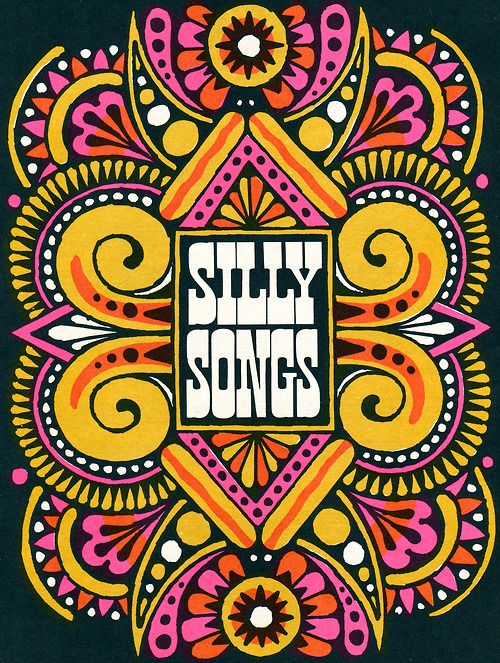 """""""Silly Songs"""" Type by John Alcorn, for Fireside Book of Children's Songs. 1966: Graphic, Vintage, Children Songs, Illustration, Fireside Book, John Alcorn, Design, Silly Songs"""
