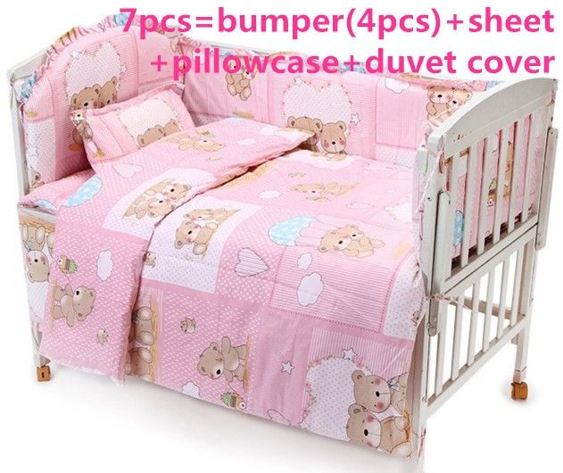 (42.80$)  Buy here - http://aiwf4.worlditems.win/all/product.php?id=32397692801 - Promotion! 6PCS Pink Baby bedding set character bed around sheet Children bedding sets ,include (bumpers+sheet+pillowcase)