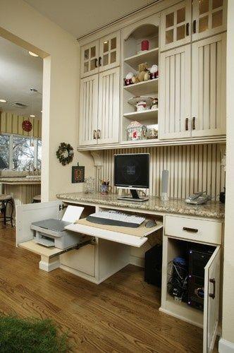 "desk with printer storage   closed off"" desk and printer storage   New desk"