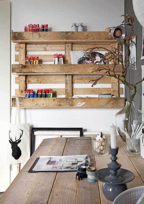 via vt wonen #homeworkspace #pallet #diy aan de buitenmuur hangen met kruidenpotjes erin?