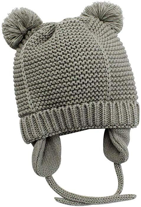e41e7d6612f Amazon.com  XIAOHAWANG Baby Boys Girls Hats Cute Pompom Ears Knit Winter  Caps Toddler Earflap Beanies (2-3Years