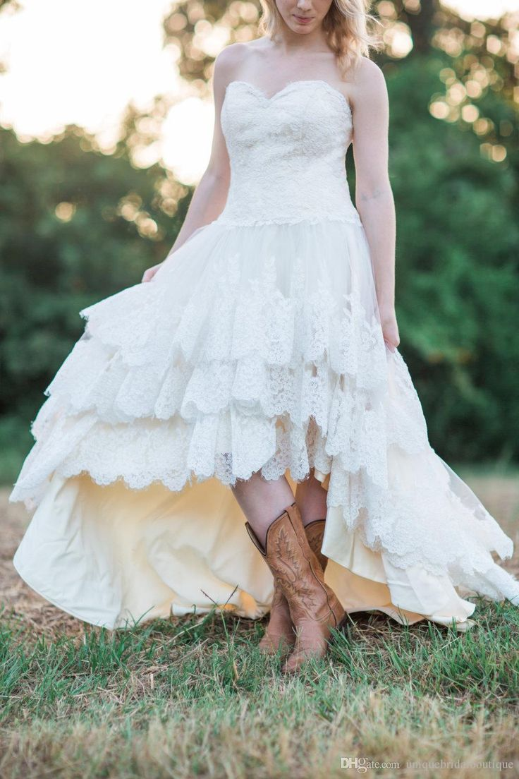 Lace High Low Country Wedding Dresses 2017 Plus Size With Tiered Skirt And Up Back