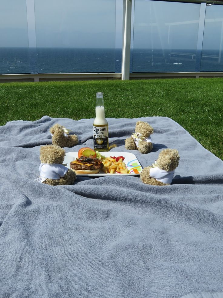 Celebrity Cruises aboard Celebrity Eclipse - Cruise Select's Bedford Bears having a relaxing picnic on real grass, on the top deck of Celebrity Eclipse