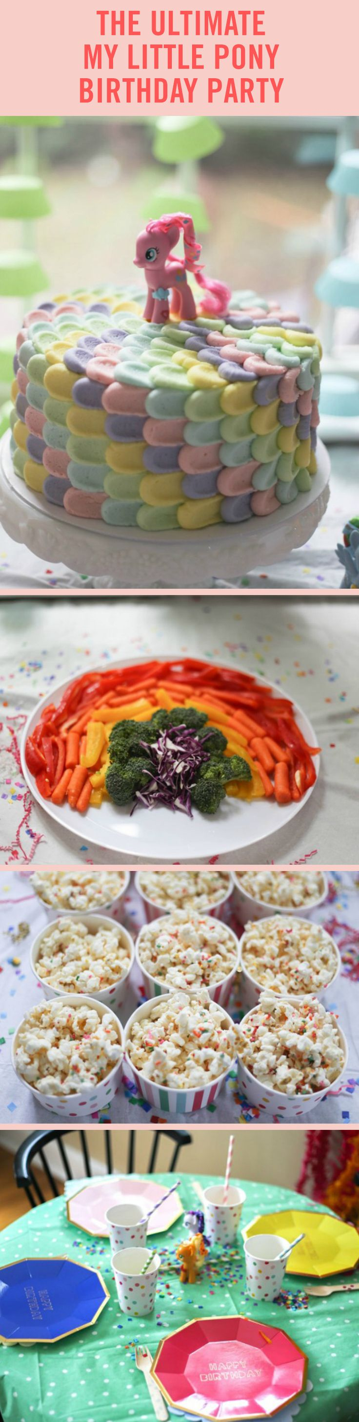 This is the My Little Pony Party of our dreams, so we want to show you how you can throw one for your kids. (The real secret? Rainbow everything.) This DIY party includes rainbow sprinkled popcorn, rainbow frosted pretzels, and even rainbow veggie platters -- as well as all of the rainbow decor you could possibly imagine.