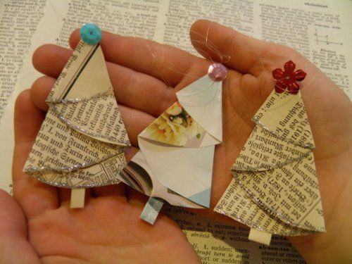 DIY Homemade Christmas Ornaments at BetterBudgeting: Rustic Vintage Paper Christmas Trees made with old books, magazines, printed paper (First Place Winner!)