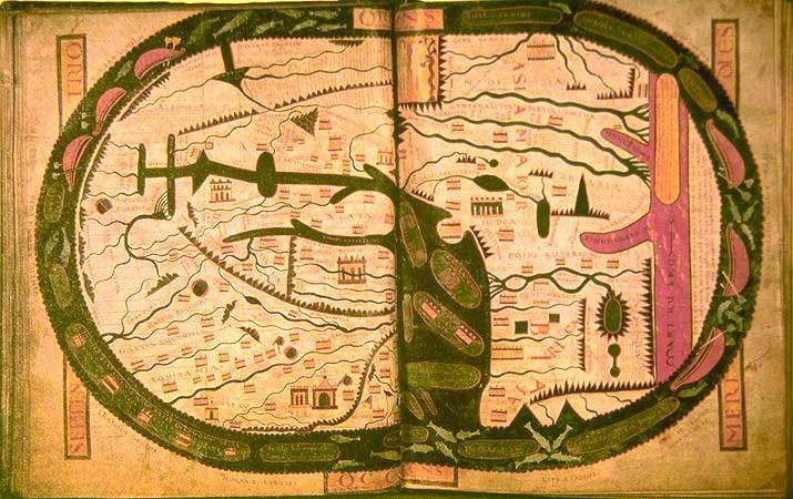 """Beatus Map, ca. 1109.  Like many medieval maps, this map is """"oriented"""", which is to say the top is East.  Asia is at the top, (along with the Garden of Eden), Africa on the lower right side, Europe on the lower left. Over on the right side, a  mysterious fourth continent, barren and desert-like, is mentioned."""