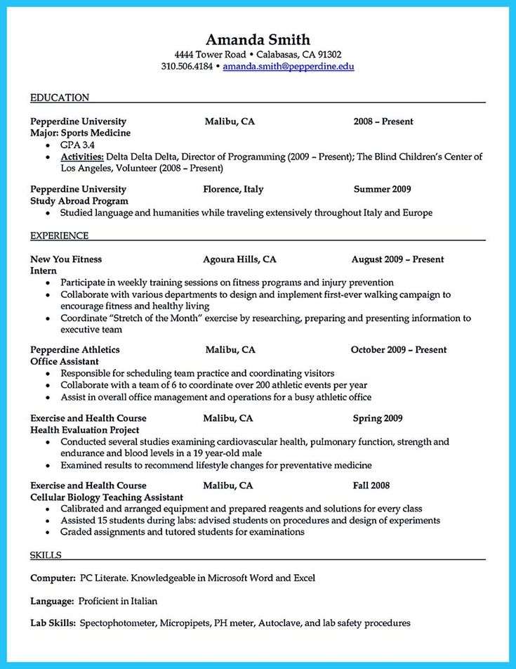 nice Starting Your Career Now with a Relevant Athletic Director Resume,