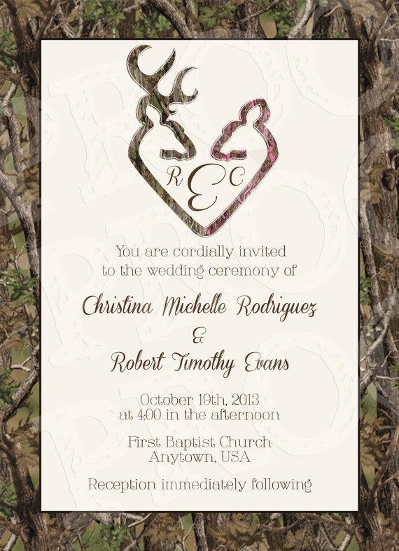 Camo Deer Hearts Wedding Invitation and RSVP Card by MrsPrint