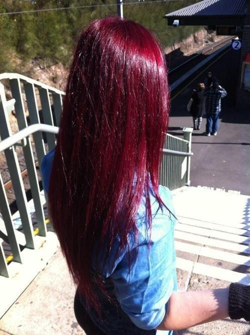Black cherry red hair  THE HAIR COLOUR!!!!!!!! ♥ My color as of now ..... wanting to add some lavender in .... or bright purp                                                                                                                                                     More