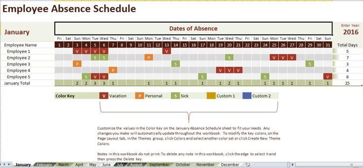 Employee Absence Schedule Template   Excel Templates   Pinterest ...