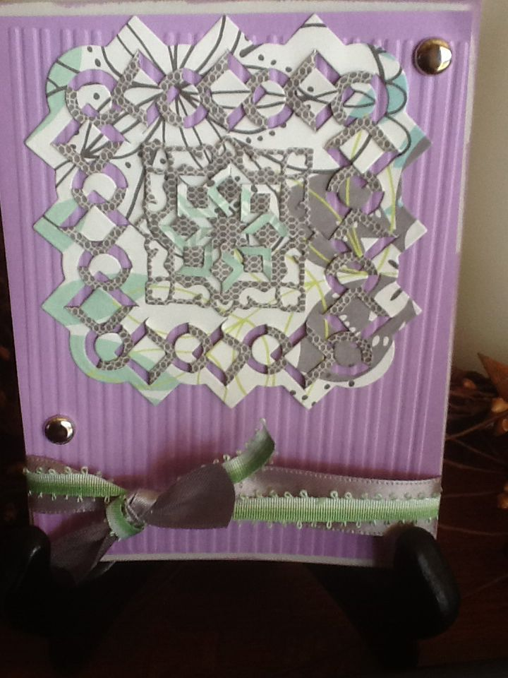 Green and purple cut and fold design, all occassion
