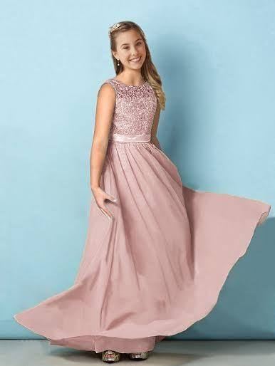 Bryony Dusky Blush Pink Chiffon Lace Girls Bridesmaid Flowergirl