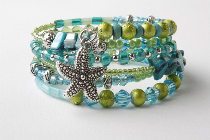 memory wire bracelet - starfish bracelet - aqua blue and lime green