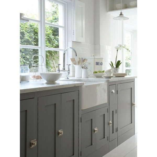 Taupe Kitchen Cabinets - Contemporary - kitchen - Taylor Lombardo Architects found on Polyvore