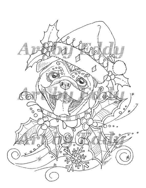 Art Of Pug Single Coloring Page Merry Christmas Pug Coloring