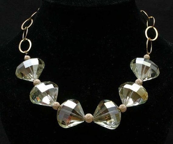 Ivory Teardrop Crystals & Gold Plated Stardust by BeccsCreations, $68.00