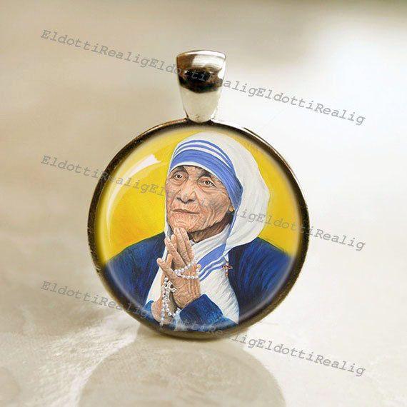 Zalige Moeder Teresa Catholic medaille. Patroon hanger door ElDotti