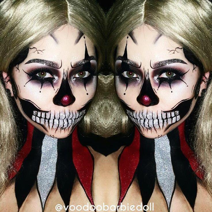 Glitter Clown Skull inspired by @jadedeacon on Instagram! IG @voodoobarbiedoll…