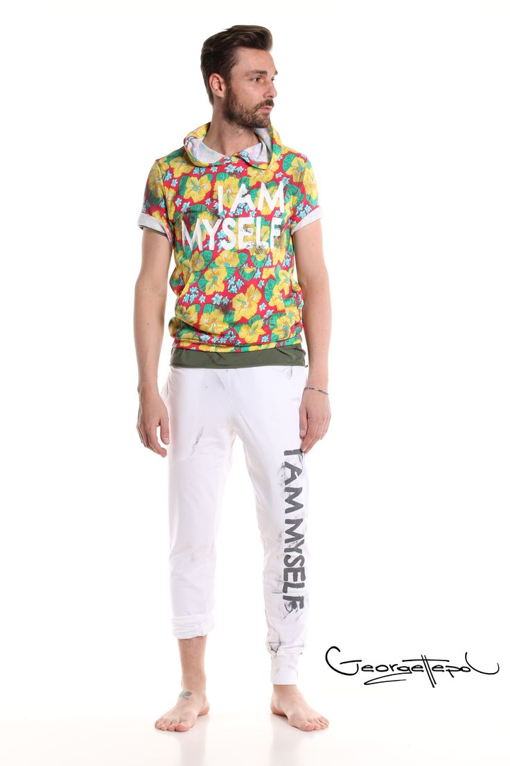 Flowers hoodie - White tracksuit bottoms #tracksuit #fashion #man #painted #summer  #hoodie #flowers #white #military #tshirt #style #georgettepol