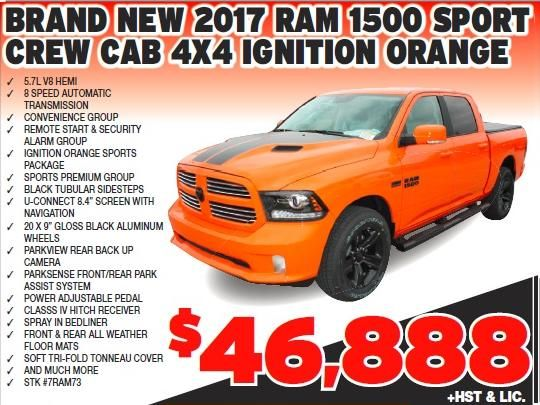 New 2017 Ram 1500 Sport Crew Cab With Orange Exterior Color 8 Sd Automatic Transmissions Convenience Group Remote Start Security Ala