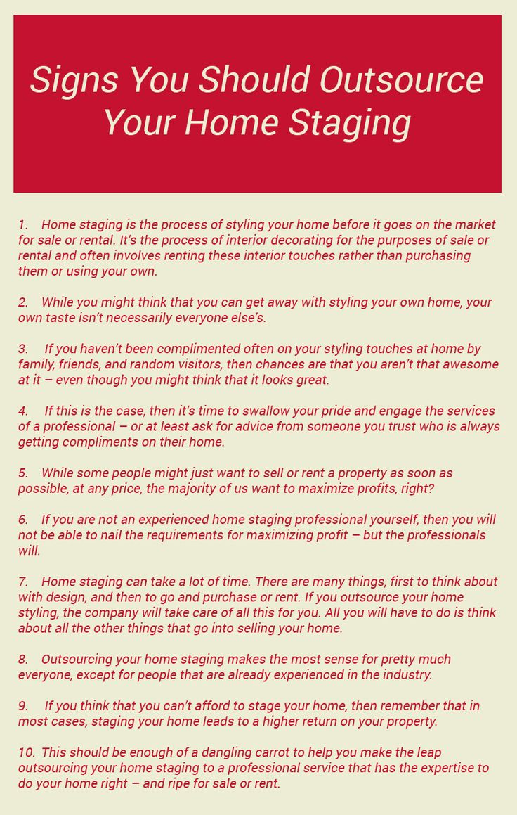 Home staging is required when you need to give style to your home and styling is important when you are thinking to sell or rent your home to someone. Either you can style your home by yourself or can go for outsourcing. Visit this infographic to read some signs when you should prefer outsourcing your home staging. #homestaging #homeimprovement #homedecor