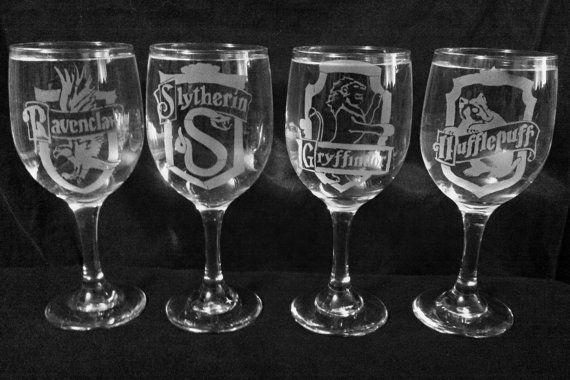 Hogwarts Houses Wine Glasses