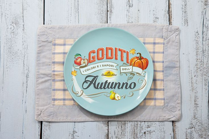 Behance :: Editing Autumn lettering   Behance :: Editing Autumn lettering  This lettering piece was done for my client Camoscio d'Oro (delicious cheese). Once the lettering was done and approved I'd tried it in different settings and environments, always related with food topic. In this examplethe dish holding the lettering is set in natural winter morning light enfasized by cold colrs palette #mockupfood, #mockupapron, #fall, #autumn, #lettering, #pumpkin, #mokupdish