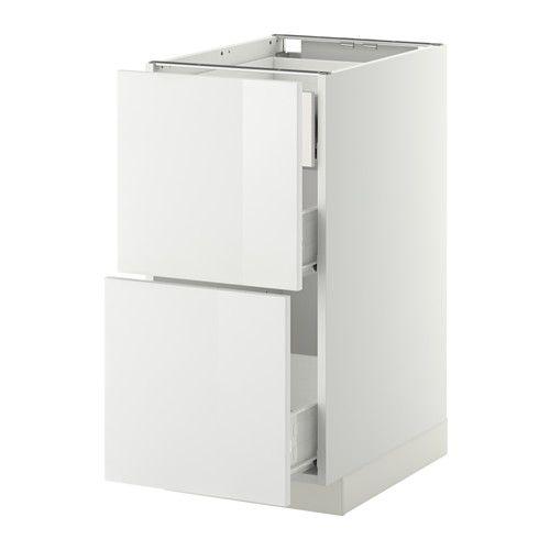 IKEA - METOD / FÖRVARA, Élément bas 2faces/3tiroirs moyens, blanc, Ringhult brillant blanc, 40x60 cm, , Le tiroir coulisse facilement et il est pourvu d'un arrêt.Structure de construction solide - 18 mm d'épaisseur.