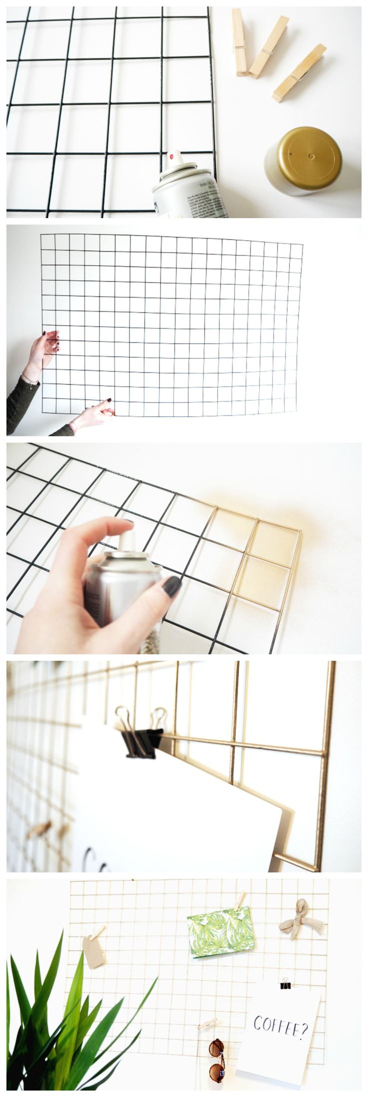 "How To Make a DIY Gold Wire Memo Board | Tutorial. The mesh is also called a ""Galvanized Mesh Panel"" or a ""PVC Coated Wire Grid"" look for it in gardening. interesting way to change out small woodcuts pinterest // @ninabubblygum"