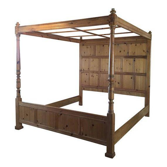 king bed frame 4 poster bed french farmhouse bed pine