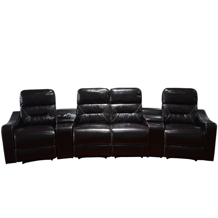 MCombo Faux Leather 4-Seat Home Theater Recliner Sofa (Sofa-Brown)  sc 1 st  Pinterest & Best 25+ Theater recliners ideas on Pinterest | Theatre room ... islam-shia.org