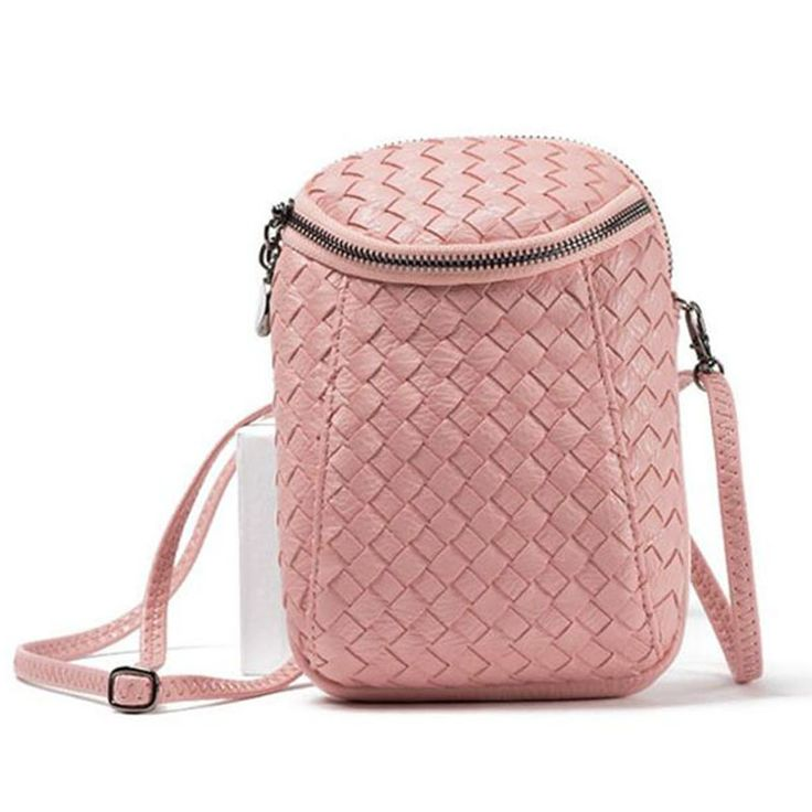 Women Retro Brand Small Woven double pocket Clutch Crossbody Bags Vintages