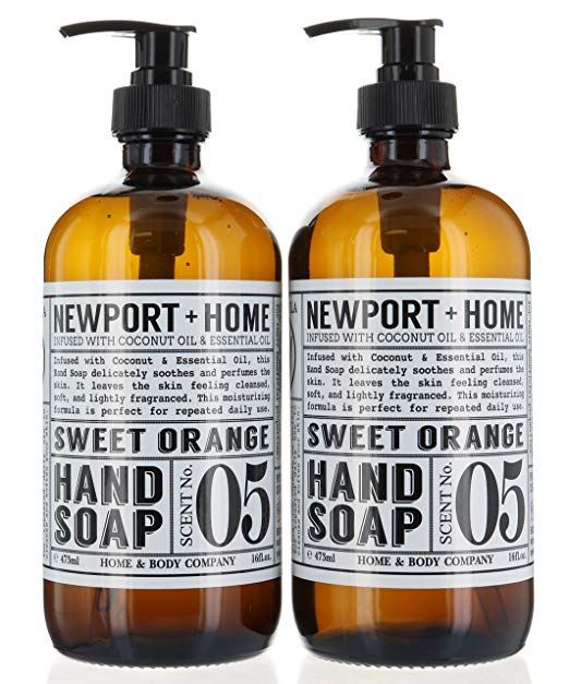 2 Bottles Newport Home Hand Soap Sweet Orange 16 Oz 473ml Infused W Coconut Oil Essential By And Body Co Review