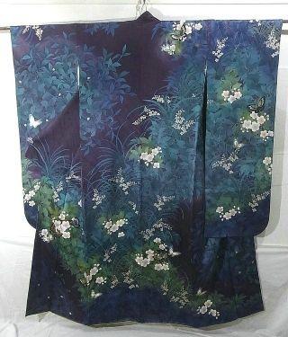 Japan modern Furisode, silk lined, deep purple, flowers spreads.