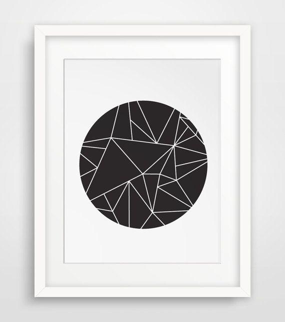 Circle art geometric wall prints black and white black for Minimal art black and white
