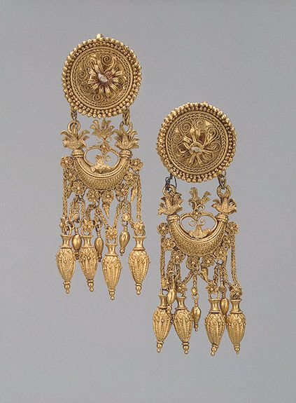 Pair of Earrings with a Disc and a Crescent-Shaped Pendant, 330-300s BCE The Hermitage Museum