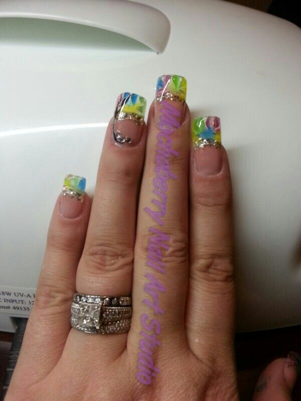Stained glass #gel nails | Nails By Mochaberry | Pinterest