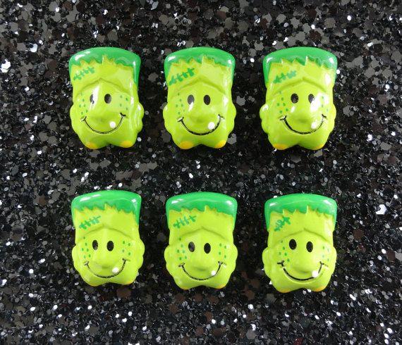 5 pcs  Green Frankie Monster Resin Flatback by CraftyMissBettie